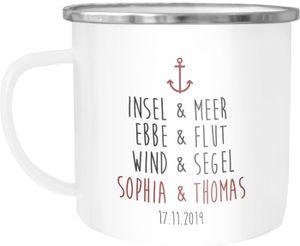 personalisierte Emaille-Tasse mit eigenem Namen und Datum Anker Spruch Liebe Liebesgeschenke Hochzeitsgeschenk SpecialMe® weiß-metall Emailletasse