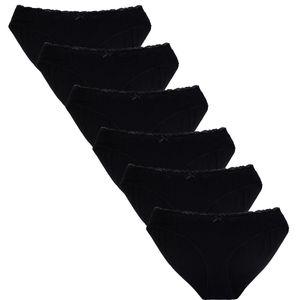 Perfekter Sitz: Sechser-Set Pantys 95% Baumwolle, Größe:M, Farbe:Schwarz Set