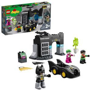 LEGO 10919 DUPLO Super Heroes DC Bathöhle mit Batmobil, Batman, Robin, Joker und Auto, Baby Spielzeug ab 2 Jahre, Kinderspielzeug, Motorikspielzeug