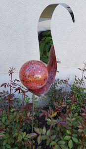 Skulptur Flame Edelstahl rot 146 cm Gartenstecker Beetstecker Rosenkugel