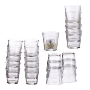 relaxdays 24 x Teelichtglas Teelichtgläser Set Teelichthalter Glas Dessertgläser Windlicht