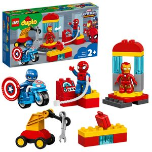 LEGO 10921 DUPLO Super Heroes Marvel Iron Mans Labor-Treffpunkt, Kinderspielzeug ab 2 Jahre mit Figuren von Spider-Man und Captain America