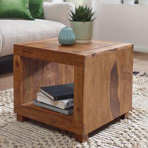 WOHNLING Couchtisch MUMBAI Massiv-Holz Sheesham 50 cm breit Wohnzimmer-Tisch Design dunkel-braun Landhaus-Stil Beistelltisch