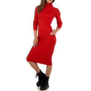 Ital-Design Damen Kleider Strickkleider Rot Gr.s/M