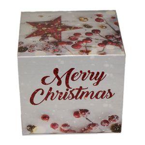 Tisch-Adventskalender Würfel Merry Christmas gefüllt mit Lindt Schokolade