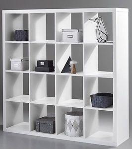 """Raumteiler Raumtrenner """"STYLE"""" 4/4 16 Fächer Regal Regalwand Wohnzimmerwand Bücherregal in weiß"""