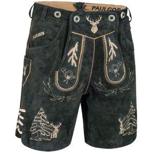 PAULGOS Herren Trachten Lederhose kurz - HK5 - Echtes Leder - in 2 Farben erhältlich - Größe 44 - 60, Farbe:Grau, Größe:52
