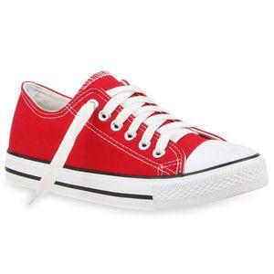 Mytrendshoe Damen Sneakers Sportschuhe Stoffschuhe 71191 Textil Schuhe, Farbe: Rot, Größe: 42