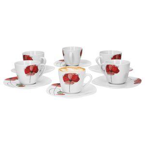 Van Well Monika 6er Set Kaffeetasse + Untertasse, Kaffee-Set, Blumendekor, edles Marken-Porzellan