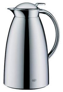 alfi Isolierkanne Gusto, Edelstahl poliert 1,5 l, Thermoskanne mit alfiDur-Hartglaseinsatz, Absolut dicht, 12 Stunden heiß - 3561.000.150