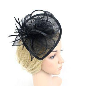 Fascinator Hut, Hochzeit Feather Hut Filz Hut für Frauen (schwarz)