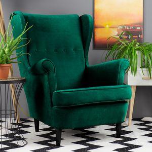 Selsey Sessel MALLMON - Ohrensessel mit Samtbezug in Grün und schwarzen Holzbeinen, Sitzfläche 51 x 59 cm
