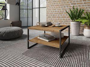 Couchtisch Wohnzimmertisch 65x65cm appenzeller fichte schwarz Industrial-Design
