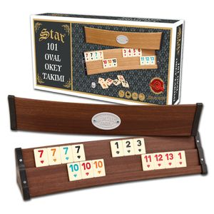 Star Holz Rummy Set VIP Okey 106 Melamin Steine schwere Qualität TAKIMI Wooden hellbraun