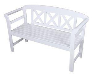 Garden Pleasure Bank 2 Sitzer Eukalyptus Holz Garten Parkbank Sitzbank weiß