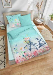 Dormisette  Mako Satin Wendebettwäsche 2 teilig Bettbezug 135 x 200 cm Kopfkissenbezug 80 x 80 cm 2440_Fb40  Fahrrad Blumen blau weiß