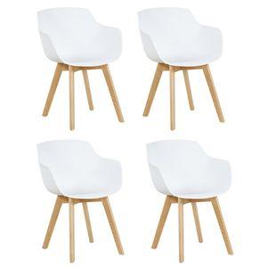 HJ 4er Set Sessel Skandinavisch Wohnzimmerstuhl Modern Esszimmerstühle mit solide Buchenholz Bein Weiß