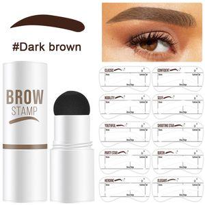 Augenbrauen Schablone, Eyebrow Stamp, Eyebrow Powder, Augenbrauen Stempel,10 Sätze Wiederverwendbaren Wasserfestes Augenbrauen-Puder-Set, Dunkelbraun