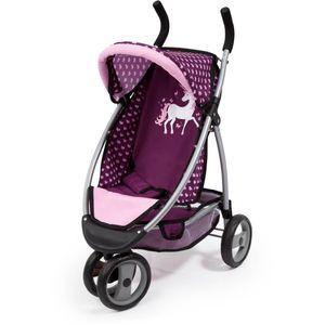 Puppenwagen Jogger Sport, blau/pink mit Einhorn