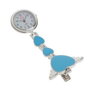 Krankenschwesteruhr - Schwesternuhr - Pflegeruhr - aus Metall - Herz Ketten - Medizinische FOB-Uhr - Taschenuhr - Ketteuhr (Blau) Blau