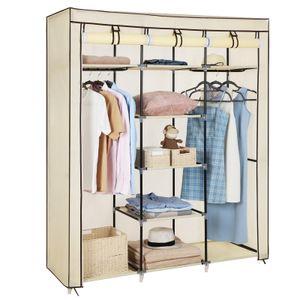 SONGMICS XXL Kleiderschrank mit 2 Stangen | Stoffschrank 175 x 150 x 45 cm | Faltschrank mit 3 rollbaren Türen | Vlies Gewebe Beige RYG12M