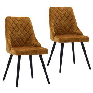 2er Set Esszimmerstuhl Polsterstuhl Stoff Samt Orange-Braun Vintage Stuhl Retro Metallbeine