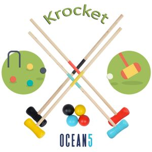 Ocean5 Croquet Set – Outdoor Krocket--56cm-Schlaeger--5cm-Baelle-