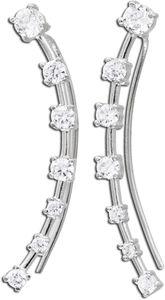 Fake-Ohr-Piercing Silber Fake Ohrringe Sterling Silber 925/- klare weisse krappengefassten Zirkonia