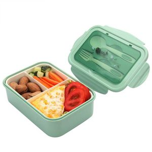 1400ML Brotdose Kinder Lunchbox mit 3-Fächer Frühstücksbox Picknick Bento Box