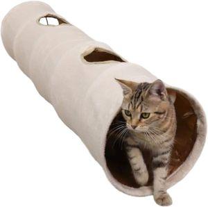 Faltbar Katzentunnel Rascheltunnel Spieltunnel 120cm Katzenspielzeug Tunnel mit Plüschball