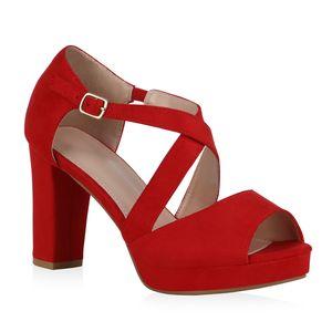 Mytrendshoe Damen Sandaletten High Heels Blockabsatz Plateau Party Schuhe 834655, Farbe: Rot, Größe: 38