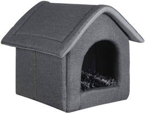 EUGAD Hundehaus Hundehöhle Katzenhaus für Beagle Französische Bulldogge Pudel Jack Russell Terrier Dackel Grau L 52x46x52cm 0011GD