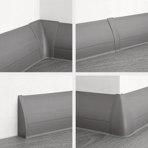 PVC Sockelleisten Sparpakete Fußbodenleisten 23x65mm Modern Kabelkanal, Muster / Farbe:0108 Holzoptik hellgrau, Menge:20 Meter / 10 Leisten