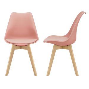 2x Design Stühle Esszimmerstuhl Rosé PolyurethanKunstleder Stuhl Holzgestell [en.casa]
