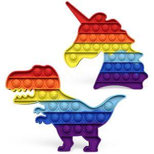 2PCS Push it Pop Pop up Bubble Einhorn Regenbogen bunt sensorisches Beruhigungsspielzeug Anti Stress beruhigend Fidget Toy Tiktok Einhorn + Regenbogendinosaurier