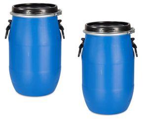 2 Stück 30 Liter Deckelfass, Kunststofffass, Futtertonne, Fass, Plastikfass Farbe blau (2x30 D)