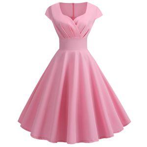 Damenmode Casual V-Veck Kurzarm Einfarbiges knielanges Kleid Größe:M,Farbe:Rosa