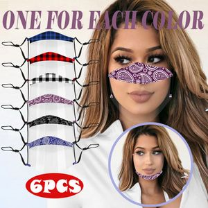 6Pc Multi Color Prints Maske Mit Clear Shield Visible Face Cover