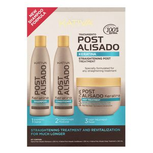 Kativa Salt-Free Straightening Post Treatment Stärkungspflege zur Haarglättung mit Keratin 3 x 250 ml