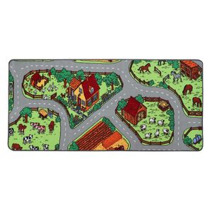 Spielteppich mit Tieren und Straßen - Bauernhof, 95x200, Pflegeleicht, Fußbodenheizung Geeignet, Spielmatte, Auto-Kinderteppich für Jungen und Mädchen
