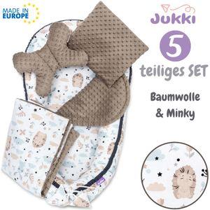 JUKKI® Baby Nestchen ✨ 5tlg MINKY SET für Neugeborene [Für immer Freunde + Mokka Minky] 2seitig 100x55cm Babynest + Matratze + Decke + 2xKissen