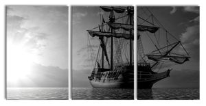 Großes Segelschiff im Sonnenuntergang, Monochrome, XXL Leinwandbild in Übergröße 240x120cm Gesamtmaß 3 teilig / Wandbild / Kunstdruck