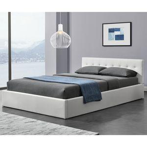 Juskys Polsterbett Marbella 140x200 cm mit Bettkasten & Lattenrost – Bettgestell aus Kunstleder und Holz – Bett Jugendbett weiß