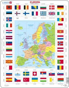 Larsen Puzzle Europa, mit Länderflaggen am Rand 70-tlg.