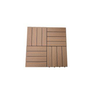 WPC 11 x Holzfliesen á 30 x 30 x 22 cm, Farbe Teak