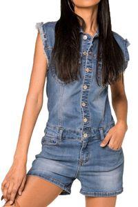Damen Denim Jeans Shorts Jumpsuit Overall Biker Playsuit Combi Ärmellose Bluse mit Fransen, Farben:Blau, Größe:40