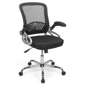 Futurefurniture® Bürostuhl,mit umkehrbaren Armlehnen,ergonomischer Netzcomputerstuhl, Lordosenstütze, bequemer Arbeitsstuhl, erwachsener männlicher und weiblicher Stuhl (Schwarz)