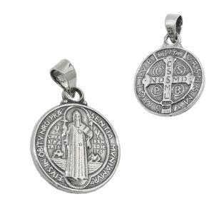 Anhänger 14mm religiöse Medaille Sankt Benedikt Silber 925 silber 14mm
