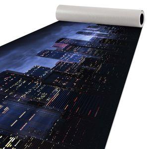 Läufer Küchen Teppich Italy Qualität rutschfest abwaschbar Skyline Blau 50x150cm