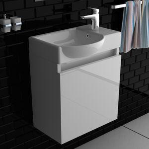 Alpenberger Badmöbelset  Komplett Vormontiert 45 x 32 cm | Handwaschbecken aus Keramik mit Überlauf | Unterschrank mit Soft-Close Funktion | Platzsparende Gäste-WC Lösung | inkl. Montagset
